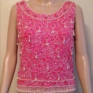 Helen Wong vintage top with tag, pink, size 40